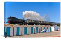 Steam Train & Beach Huts at Goodrington Beach, Canvas Print