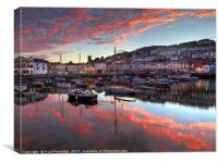 Brixham Sunset in August                       , Canvas Print