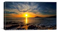Sunset over Burgh island, Canvas Print