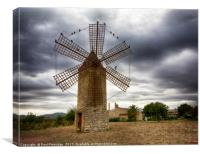A Restored Mallorcan Windmill, Canvas Print