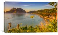 Close up of a yellow flower with El Nido Town in b, Canvas Print