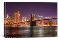 Night view of the Brooklyn Bridge , Canvas Print