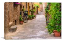 Bicycle leaning against the wall, Canvas Print