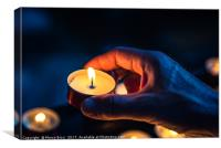 A hand of a man holds a candle in a church, Canvas Print