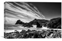 Kynance Cove in Black and White, Canvas Print