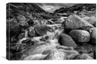 Stream Into Porth Nanven in Black and White, Canvas Print