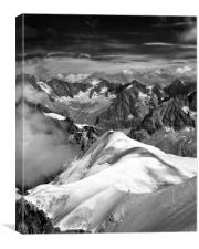 Mountaineer on L'arete de Aiguille du Midi, Canvas Print
