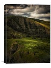 Mam Tor and Grazing Sheep, Canvas Print