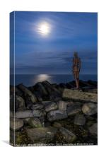 Moon gazing Iron Warrior Portrait, Canvas Print