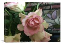Roses with stained glass, Canvas Print
