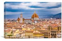 View of Florence from Hilltop Above, Canvas Print