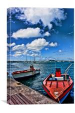 Red Boats at Blue Pier, Canvas Print
