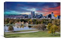 Denver Skyline and Mountains Beyond Lake, Canvas Print