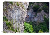 Climbing Cheddar Gorge      , Canvas Print