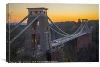 Sunset over Clifton Suspension Bridge, Canvas Print