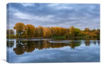 A cloudy autumn day by the lake, Canvas Print