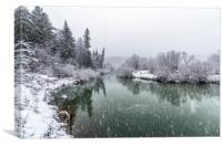 A cooling river with the first snow , Canvas Print