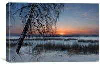 The setting sun on a frosty evening, Canvas Print