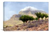 Mountain landscape with palm trees., Canvas Print