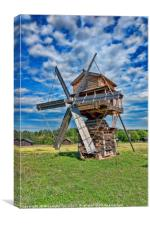 wooden windmil in Russia, Canvas Print
