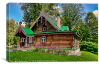 The ancient wooden house in the noble estate in Ru, Canvas Print