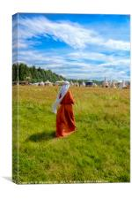 the woman in a medieval dress goes on a grass, Canvas Print