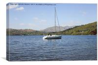 A Sailing Yacht On Lake Windermere, Canvas Print