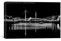 Bassin Du Commerce Bridge At Night In Le Havre, Fr, Canvas Print