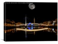 Bassin du Commerce At Night In Le Havre, France., Canvas Print