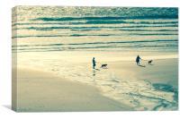 Walking along oceanside beach, Canvas Print