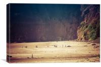 Playing along oceanside Oregon, Canvas Print