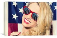 Patriotic Blonde and American Flag, Canvas Print
