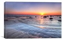Sunset at Earnse Bay beach Walney Island, Canvas Print