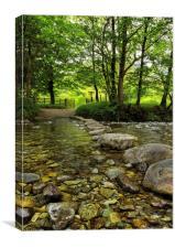 Rosthwaite River Stepping Stones, Canvas Print