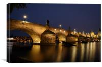 Charles Bridge at Night, Prague, Canvas Print