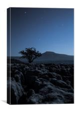 Moonlit Twistleton Scar & Ingleborough, Canvas Print