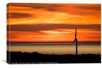 Isle of Anglesey Windmill Sunset over Irish Sea, Canvas Print