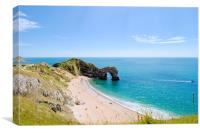 Durdle door and beach in the Summer sunshine., Canvas Print