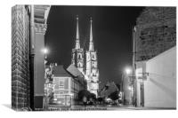 Wroclaw cityscape black and white, Canvas Print