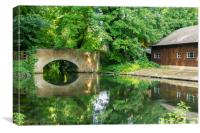Reflection of bridge, Itchen River Winchester, Canvas Print