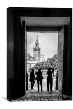 Taking photographs of the Giralda in Seville, Canvas Print