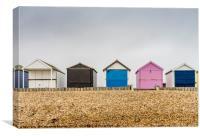 Beach huts along Calshot , Canvas Print