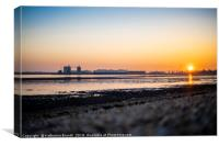 Sunset over Southampton Water, England, UK, Canvas Print