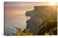 Sunset along the Jurassic coast in Dorset, England, Canvas Print