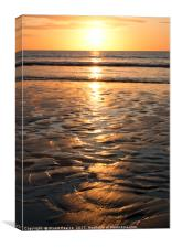 Sunrise over Filey Beach Sands, Canvas Print
