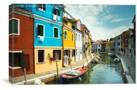 Pastel Shades of Burano, Venice, Canvas Print