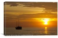 Boat silhouette at sunset, Canvas Print