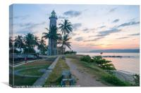 Galle fort lighthouse at sunrise, Canvas Print