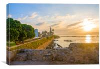 Bird on wall with Galle Fort lighthouse, Canvas Print