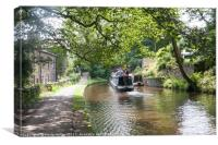 Pound and lock on the Huddersfield Narrow Canal, U, Canvas Print